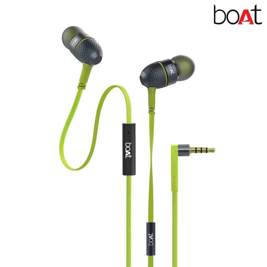 Boat Bass Heads 225 in-Ear Headphones with Mic (Neon Lime)