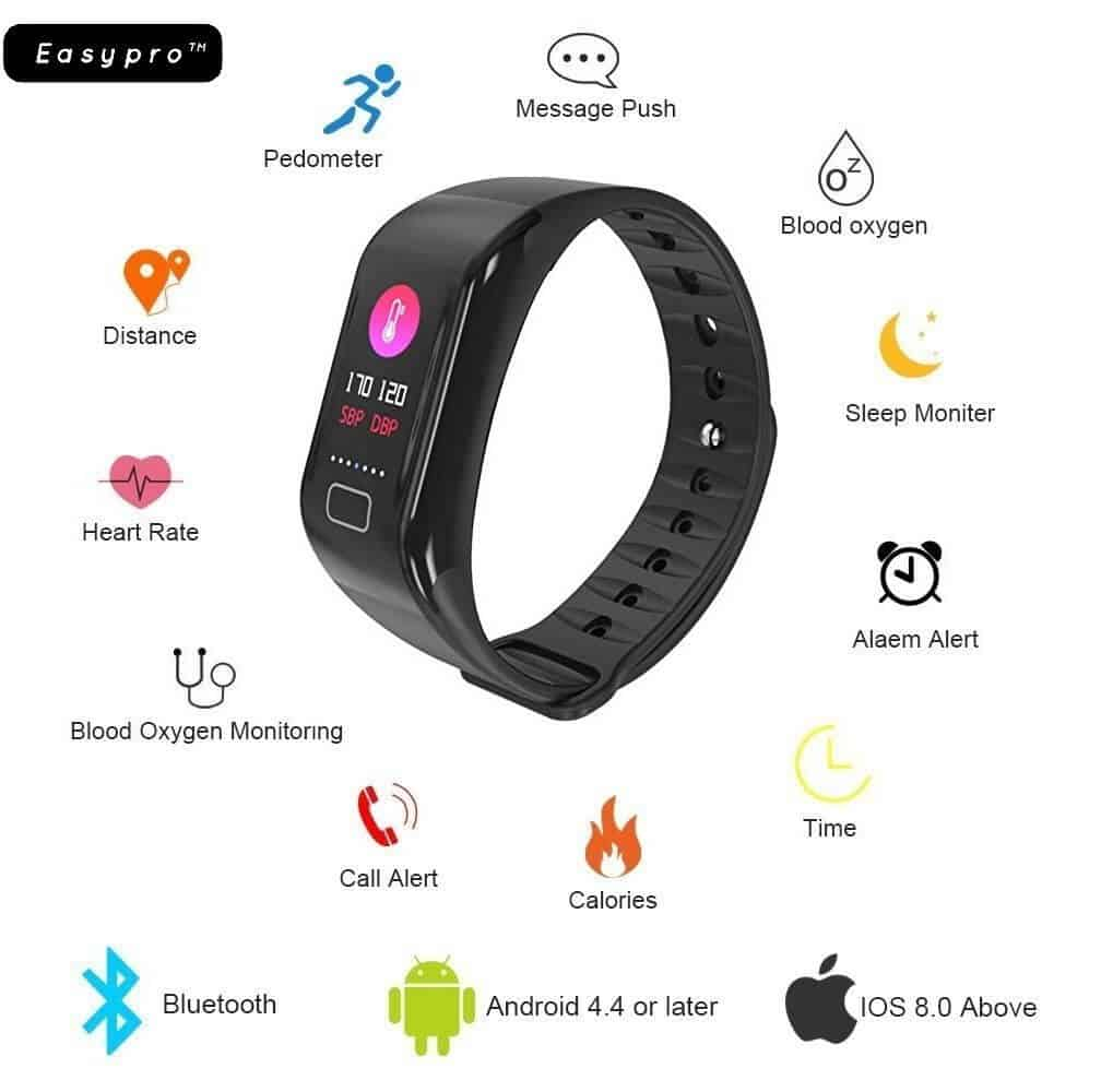 Easypro Get Fit 3.0 Smart Fitness Band Smart Watch Waterproof Bluetooth Fitness Tacker For IOS Android Devices With Easyro Earphone