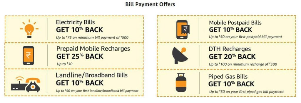 Amazon Pay Bill Payments Offers