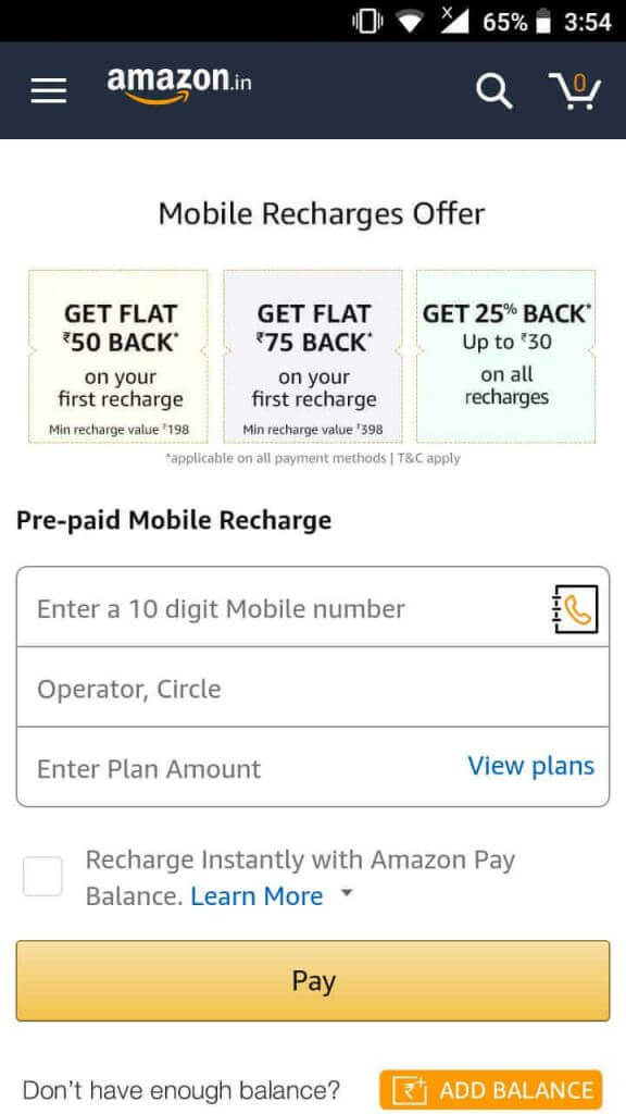 amazon recharge and bill payment